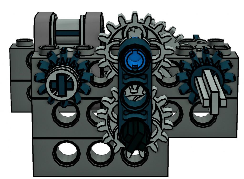 """Der """"Eingang"""" des Richtungsteilers. Vom Motor angetrieben wird die untere Kreuzachse. Das obere 16er Zahnrad ist mit leichter Friktion gelagert und kuppelt daher je nach Drehrichtung kraftschlüssig links oder rechts in das 12er Zahnrad ein"""
