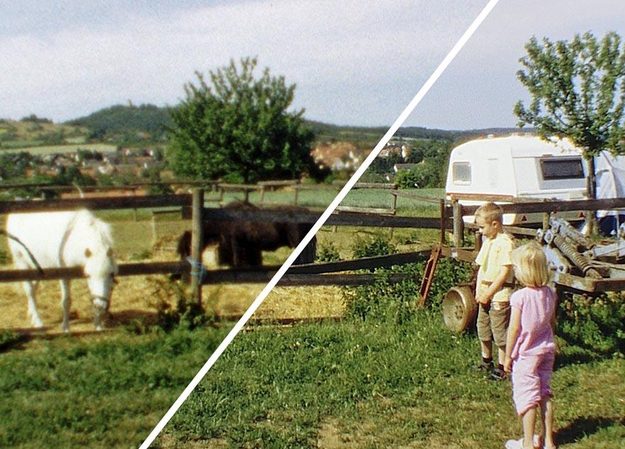 Links ein eizeln abgetastetes Super 8 Einzelbild, rechts eine durch SR errechnete Simulation dessen, was unser Auge bei der Projektion wahrnimmt