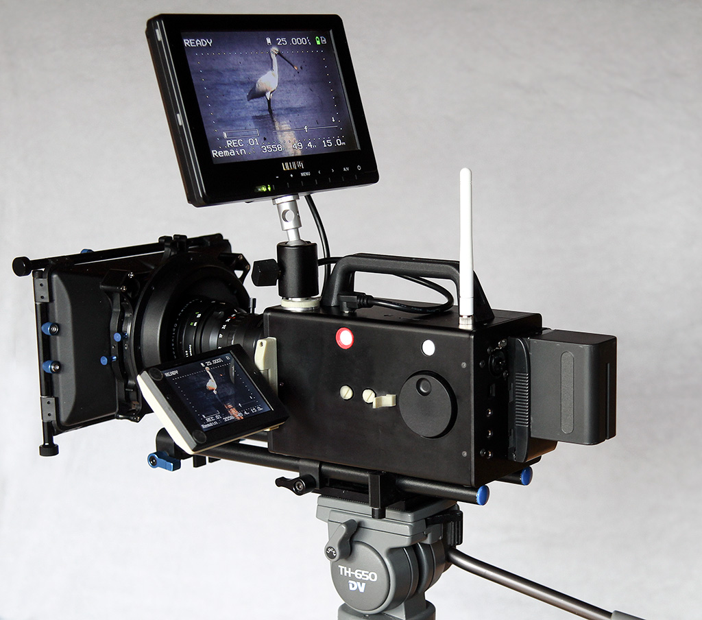 A one-of-a-kind machine: the Logmar camera with matte box and external TFT viewfinder. You can still spot the 3D-printed parts.