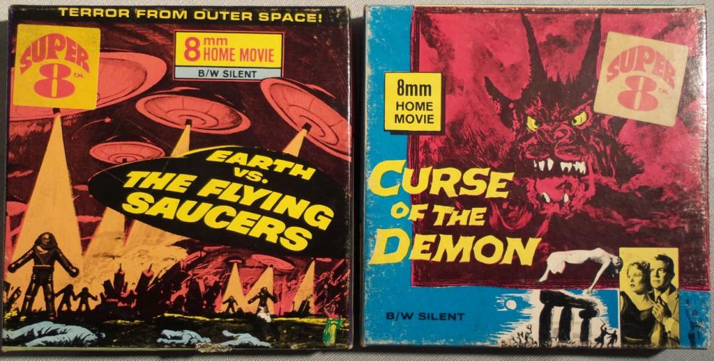 2 schön-bunte Beispiele für Papp-Cover - Veröffentlichungen von Columbia. Ein zusätzlicher Aufkleber weißt das Super8-Format aus.