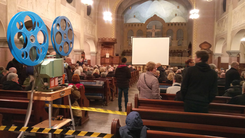 SIlent Movie Concert in a church with analogue 35mm film projection
